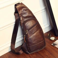 Mens Genuine Leather Sling Chest Bag Travel Hiking Messenger Shoulder Pack Pouch in Clothing, Shoes & Accessories, Men's Accessories, Backpacks, Bags & Briefcases | eBay