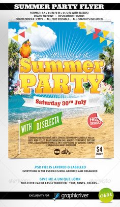 SUMMER PARTY FLYER FORMAT : 8.5 * 11 in (9 in * 11,5 in with bleeds) Ready to print  Resolution : 300dpi Color Profile : CMYK all text editableA clean and easy to custom flyer for your summer party.All graphic elements are included.FREE FONTS USED Ultra : http://www.fontsquirrel.com/fonts/ultra Bebas : http://www.dafont.com/bebas.font TheNautiGal