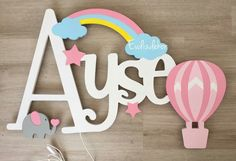 Wooden Wall Letters, Nursery Letters, Wooden Signs, Kids Room Accessories, Wooden Cutouts, Baby Mobile, Baby Memories, Name Gifts, Rainbow Birthday