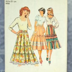 Vintage Peasant Skirt Sewing Pattern Style 2253 by ZollyShoppe
