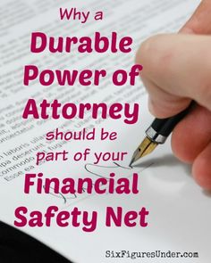 Having a Durable Power of Attorney is an important part of your financial safety net, though it's usually not at the top of our minds. Learn what a Durable Power of Attorney is and why you need one. Funeral Planning Checklist, Retirement Planning, Retirement Money, Financial Tips, Financial Planning, Family Emergency Binder, When Someone Dies, Life Binder, Power Of Attorney