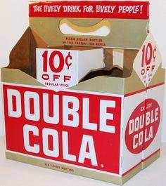 Vintage soda pop bottle carton DOUBLE COLA 10 cents off unused new old stock Bottle Packaging, Food Packaging, Packaging Ideas, Vintage Packaging, Vintage Branding, Drink Labels, Pop Bottles, Folded Up, Traditional Design