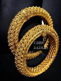 Diamond Bracelets Gold Bangles - Set of 2 Pair) (Temple Jewellery): Totaram Jewelers: Buy Indian Gold jewelry & Diamond jewelry Almeena Exquisite Gold Bangles Design, Gold Jewellery Design, Silver Jewelry, Daisy Jewellery, Quartz Jewelry, Designer Jewellery, Bridal Jewellery, Silver Earrings, India Jewelry