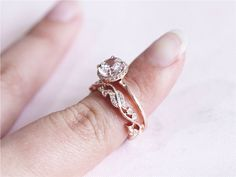 Solid 14K Rose Gold Engagement Ring 7mm Round Morganite Engagement Ring Set Anniversary Ring Fancy Morganite Wedding Ring Set by LoveGemArts on Etsy https://www.etsy.com/ca/listing/277754104/solid-14k-rose-gold-engagement-ring-7mm