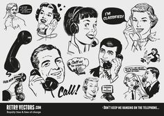 Retro Vector Graphics - Hanging on the Telephone