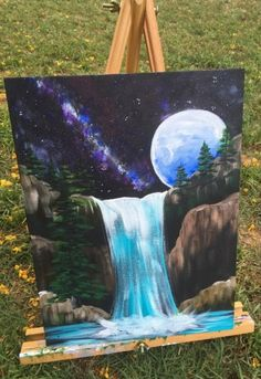 How To Paint Galaxy Falls - Step By Step Painting Painting a waterfall is very easy! Learn how to paint a waterfall with acrylics with this step by step canvas painting tutorial for beginners. Canvas Painting Tutorials, Acrylic Painting Canvas, Canvas Art, Creative Painting Ideas, Night Sky Painting, Waterfall Paintings, Step By Step Painting, Beginner Painting, Learn To Paint