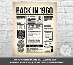 Items similar to Birthday Poster with Photo - Printable Birthday Sign - Custom Birthday - 1957 Events Sign - Custom Birthday Poster - on Etsy Costco, Printable Poster, Printable Labels, Free Printables, Vintage Newspaper, Bold Typography, O Gas, Thing 1, Walmart