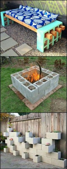 I like the third pic as an idea for our backyard. Just paint the cinderblocks a certain color.