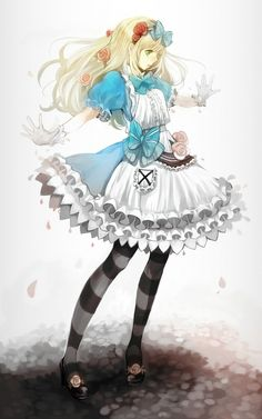 Alice in wonderland looking anime girl