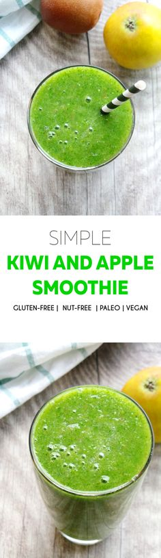 Easy alkaline kiwi and apple green smoothie - vegan and gluten-free, also nut-, grain- and seed-free.