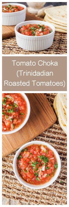 Tomato Choka comes from Trinidad and highlights summer produce at its finest. Choka refers to the process of roasting the tomatoes to intensify their flavor before crushing and combining them with … Vegetable Recipes, Vegetarian Recipes, Cooking Recipes, Tuna Recipes, Puerto Rico, Trinidadian Recipes, Roti, Trini Food, Trinidad Y Tobago