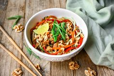 Thinly sliced strips of pork tenderloin are mixed with chopped bell peppers, carrots, spiral zucchini noodles, walnuts and tossed in a teriyaki sauce. This Heart-Check Certified recipe is brought to you by the California Walnut Board Baked Chicken Recipes, Pork Recipes, Healthy Recipes, Meal Recipes, Healthy Meals, Recipies, Creamy White Pasta Sauce, Honey Mustard Chicken, Eating Light