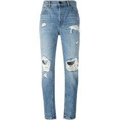 Alexander Wang distressed jeans ($485) ❤ liked on Polyvore featuring jeans, pants, blue, high-waisted jeans, destroyed jeans, blue jeans, blue ripped jeans and torn jeans