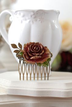 Fall Rose Hair Comb, Gold Dark Red Burgundy Rose, Leaf Branch, Rustic Vintage, Fall Wedding Flower Comb, Autumn Bridal Hair Accessory