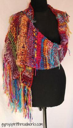 Gypsy Spirit Caravan Tunisian Crochet Scarf Shawl