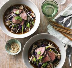 Spiced beef rump medallions with Asian slaw and black broth