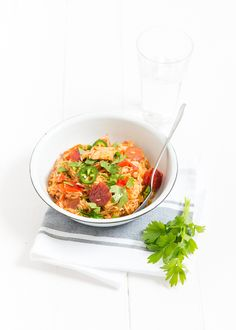 Lekker zelfgemaakte Kip Jambalaya met kip en chorizo. A Food, Good Food, Easy Cooking, Chana Masala, Food For Thought, Chicken Recipes, Dinner Recipes, Curry, Low Carb