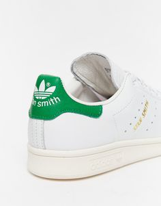 Image 3 ofadidas Originals White & Green Stan Smith Trainers