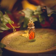 Monarch butterfly pendant terrarium bottle vial by CostureroReal