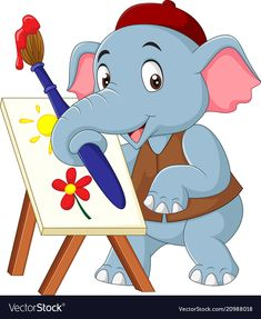 Cute Cartoon Pictures, Cute Cartoon Animals, Cartoon Pics, Pictures To Draw, Doodle Drawings, Cute Drawings, Cute Elephant Drawing, Drawing Videos For Kids, Elephant Images