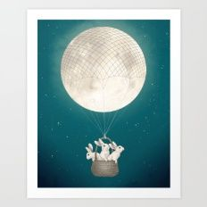 Art Print featuring Moon Bunnies by Laura Graves