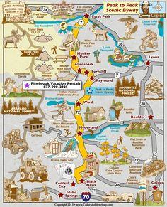 Aspen Trees-Peak to Peak Scenic Byway Map, Colorado Vacation Directory Estes Park Colorado, Le Colorado, Road Trip To Colorado, Skiing Colorado, Black Hawk Colorado, Estes Park Camping, Colorado Vacations, Grand Lake Colorado, Pikes Peak