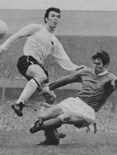 October Manchester United full back Tony Dunne making a crunching tackle on Derby County striker Kevin Hector, at the Baseball Ground. Manchester United Players, Derby County, Football, Baseball, Golden Age, October, The Unit, Soccer, Baseball Promposals