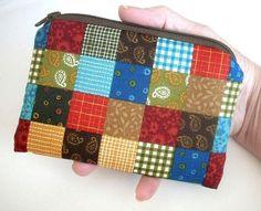 SALE Simple Stitches Patch Little Zipper pouch Eco Friendly Padded Gadget Case by JPATPURSES, $6.00