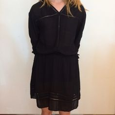 Black Drop Waist Drawstring Dress Small. Great cover up. New. Tags attached. Unknown Dresses