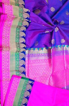Shop online for Purple Handloom Banarasi Katan Silk Saree