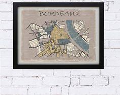 affiche vintage, carte bordeaux, affiche bordeaux, plan bordeaux, déco salon, déco bureau, cadeau, carte ville, plan ville bordeaux, poster
