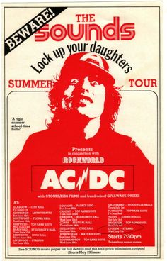AC/DC 1976 Lock Up Your Daughters Tour Flyer.