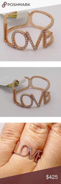 """0.20 carat 14k rose gold diamond """"love"""" ring 0.20 carat 14k rose gold diamond """"love"""" ring Jewelry Rings"""