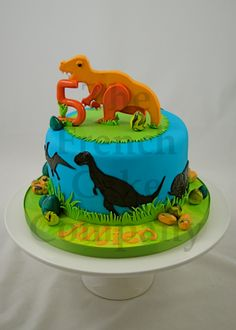 Cake for boys Dinosaur - Gateau D'anniversaire Pour Enfants - Garcon Dinosaure - Verjaardagstaart                                                                                                                                                                                 Plus