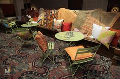 Fun sitting area with interesting textile blankets using patio furniture and pillows. Moroccan Theme, Outdoor Furniture Sets, Outdoor Decor, Sitting Area, Event Planning, Blankets, Patio, How To Plan, Pillows