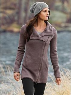 Is this a sweater or a coat? I love the length and asymmetric zipper.