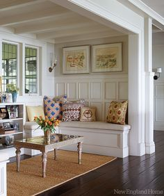 Built-in seating/nook. Architect Robert Zarelli and designer Charlotte Barnes in Marblehead, MA. New England Home. Built In Seating, Built In Bench, Bench Seat, My Living Room, Living Spaces, Small Living, Enchanted Home, New England Homes, New England Cottage