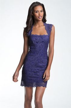 Nicole Miller Lace Fitted Cap Sleeve Lace Sheath Dress | Nordstrom