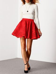 Red High Waist Hollow Flare Skirt -SheIn(Sheinside) Mobile Site
