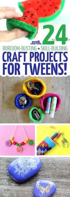 Create these fun and easy craft projects for tweens and teens - you'll love how they come out! These simple DIY crafts for teenagers and preteens include paper crafts knitting jewelry making DIY accessories and more for big kids boys and girls Easy Crafts For Teens, Diy Crafts For Teen Girls, Diy And Crafts Sewing, Easy Craft Projects, Easy Diy Crafts, Diy Projects For Teens, Diy For Teens, Tween Craft, Paper Crafts Kids