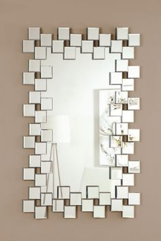 Coaster Furniture Contemporary frameless clear mirror This frameless mirror is defined Unique Mirrors, Cool Mirrors, Small Mirrors, Square Mirrors, 3d Mirror, Decorative Mirrors, Mosaic Mirrors, Mirror Crafts, Stained Glass
