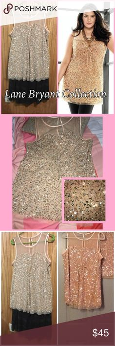 """Lane Bryant Sequin Sweetheart Tunic Sz 0X/14 Gorgeous Sequin and mesh blush colored Tunic. I've had this in my closet and never have gotten around to wearing it and now I cannot fit it. The neckline is a sweetheart neckline with mesh and ribbon trim. Beautiful detail with sequins and beads. Bust: 42"""", Waist: 41"""", Hip: 50"""". There is some stretch to it. Consists of a Sequin/mesh overlay atop a fully lined sleeveless top. Size listed as 0X, which fits up to like 14, maybe 16 at most. NWT…"""