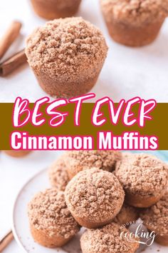 Best Cinnamon Muffins Ever! These Best Ever Cinnamon Muffins have a cinnamon sugar streusel topping. These fluffy moist muffins are so quick to make!  Recipe makes 12 muffins so share them with your friends and family! Streusel Coffee Cake, Streusel Topping, Breakfast Cake, Breakfast Dishes, Breakfast Recipes, Banana Bread Recipes, Muffin Recipes, Delicious Desserts, Dessert Recipes