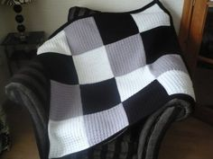 BlackGrey and White Afghan by Aalexi on Etsy, $70.00