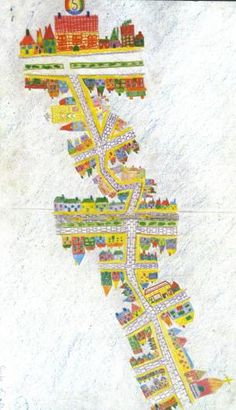 Waldorf ~ grade ~ Local Geography ~ The First Map ~ main lesson book ~ It is not an easy matter to draw a map for the first time. For how can you possibly fit in all the interesting things you see on the way to school! Waldorf Curriculum, Waldorf Education, Group Art Projects, School Projects, 4th Grade Math, Grade 3, Arts Integration, Cultural Studies, Science Worksheets