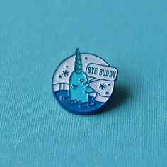 """-1"""" Blue Metal Plated Soft Enamel Pin with Butterfly Clasp Backing -Shipped on a card in bubble wrap"""