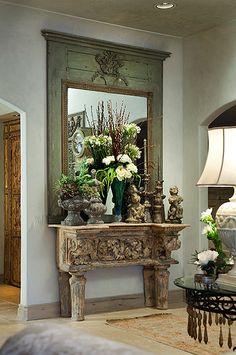 Entryway...a special Antique Swedish mirror...and Swedish Console...