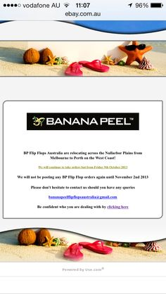 BP Flip Flops Australia are on the move!   Heading across the Australian Nullarbor Plains from Melbourne to Perth in the West Coast! We are also changing our Webstore so we will continue to take orders through our EBay store but we will not be posting any BP Flip Flop orders again until November 2nd 2013.  Please don't hesitate to contact us should you have any queries bananapeelflipflopsaustralia@gmail.com  Road Trip!