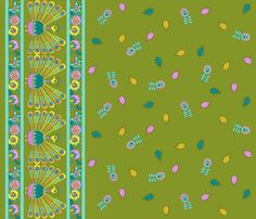 PEACOCK BORDER  fabric by uzumakijo on Spoonflower - custom fabric