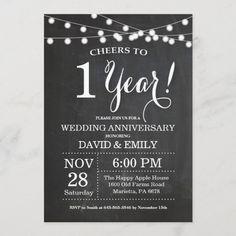 1st Wedding Anniversary Invitation Chalkboard Anniversary Chalkboard, Chalkboard Wedding Invitations, Wedding Anniversary Invitations, Anniversary Dinner, First Wedding Anniversary, Anniversary Parties, Zazzle Invitations, Man Birthday, Wedding Sets